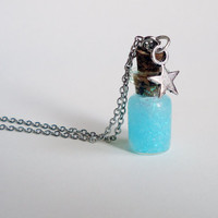 Make a Wish - Glass bottle jewelry - baby blue glitter & star