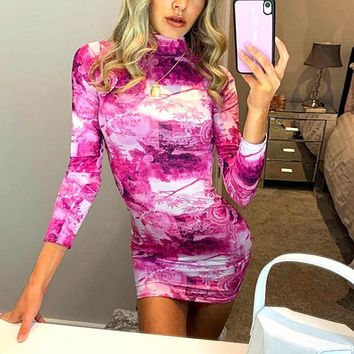Printed Slim Long Sleeve Dress 2020 Fall New Fashion Round Neck Skirt rose red