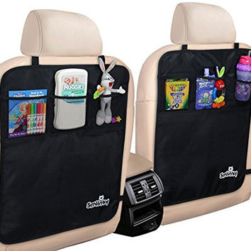 Kick Mats With Organizer - Premium Backseat Protector To Use As Seat Covers For Your Car, SUV, Minivan or Truck Seats - Vehicle Back Seat & Kids Safety Accessories - Universal Fit Automotive Interior Protectors