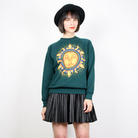 Vintage 90s Sweatshirt Hunter Green Gold SUN Print Sweater 1990s Grunge Pullover Jumper Screen Print Novelty Sweatshirt S Small M Medium