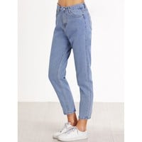 Where To Tonight? High Waist Pocket Cropped Jeans - Blue
