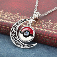 Pokemon Pokeball Half Moon Necklace