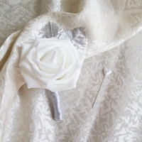 White foam rose silver glitter brooches silver flowers wedding boutonniere corsage satin ribbon custom