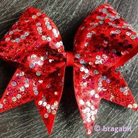 Red and silver reversible sequins cheer bow