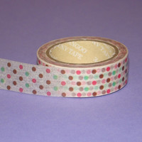 Washi Tape Roll Cute Kawaii Polka Dots Stationary Scrapbooking Sticker 15mm x 10m