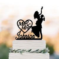 Drunk Bride Wedding Cake topper mr and mrs, bride and groom silhouette, personalized wedding cake topper name, funny cake topper figurine