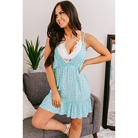 A Beautiful Life Ruffle Mini Dress (Aqua)