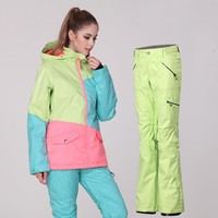Gsou snow womens green ski suit female snowboarding set pink blue yellow green sk jacket and blue yellow green ski pants skiwear