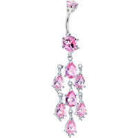Sterling Silver 925 Pink Cubic Zirconia Treasure Chandelier Belly Ring | Body Candy Body Jewelry