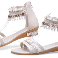ankle bohemia wrap flat sandals  sexy  ladies heeled footwear heels shoes size 36-40 P18284