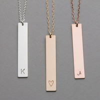 Long Necklace, Gold, Silver or Rose Gold / Long Gold Bar Necklace / Customized Initial Pendant Necklace / Initial Bar Necklace LN104v
