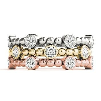 Stackables 1/2 Eternity Tri-Tone Gold Bezel Round Diamond & Beads 3-Band Set Selectables