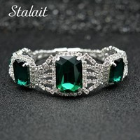 Fashion Crystal Rhinestones Silver Color Jewelry For Women Wedding Big Square Green Stones Chain & Link Bracelets