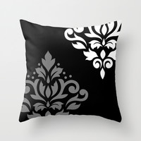 Scroll Damask Art I Black Grey White Throw Pillow by Natalie Paskell