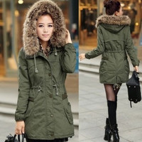 Womens Ladies Faux Fur Hooded Jacket Warm Winter Zip Up Parka Coat Outerwear = 1932593028