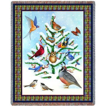 BIRD HAVEN CHRISTMAS  AFGHAN THROW BLANKET
