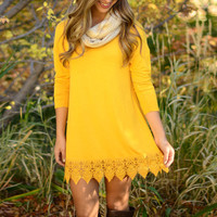 Spectra Yellow Crochet Lace Hem Trapeze Dress