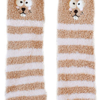 Cartoon Mole Pattern Striped Room Socks