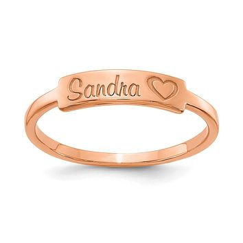 14K Rose Gold Personalized Name Bar Ring