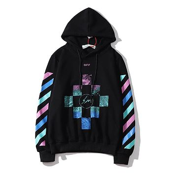 OFF-White new style blouse color stripe square pattern men and women fashion hoodie