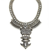 Heavy Metal akasha Statement necklace Torture Couture Silver Rhinestone vampire gothic gypsy burlesque showgirl