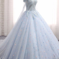Sweetheart baby blue tulle long lace appliques wedding dress, train prom dress