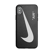 NIKE Fashion New Hook Print Women Men Phone Case Protective Cover Black