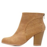 Camel Qupid Basket-Woven Booties by Qupid at Charlotte Russe