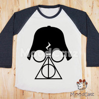 S, M, L -- Deathly Hallows T-Shirt Darth Vader T-Shirt Star Wars T-Shirt Women T-Shirt Unisex T-Shirt Raglan Long Sleeve Tee Baseball Shirt
