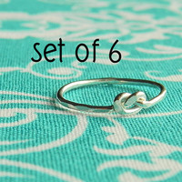 Tie the knot ring, love knot ring, Set of 6,  sterling silver infinity knot ring, bridesmaid gift,wedding jewelry