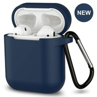 New AirPods Case, 360°Protective Silicone AirPods Accessories Kit Compatable with Apple AirPods 1st/2nd Charging Case [Not for Wireless Charging Case] - Dark Blue