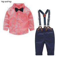 kids clothes grid shirt + suspender newborn Long sleeve baby boy clothes Bow knot gentleman suit