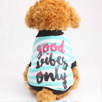 Good Vibes Only White Small Dog T-Shirt