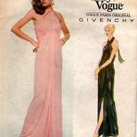 70s Vogue Sewing Pattern 2014 Designer Fashion Givenchy Gown Cocktail Party Dress American Hustle Disco Style Toga Wrap Loose Fit Bust 30