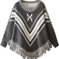 Grey Fall Fashion Poncho Sweater
