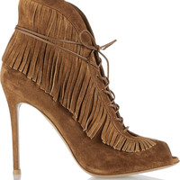 Gianvito Rossi - Fringed lace-up suede ankle boots
