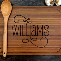 Personalized Cutting Board (Pictured in Amber), approx. 12 x 16 inches, Family Name with Border, Wedding gift, Housewarming gift, Chef Gift