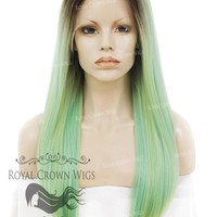 "24 inch Heat Safe Synthetic Straight Texture Lace Front ""Aphrodite"" in Rooted Sea Siren Green"