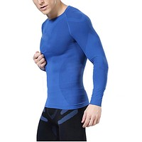 Newest fitness men long sleeve exercise Casual t shirt men thermal muscle bodybuilding compression tights shirt