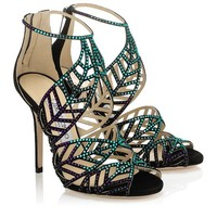 Blue Bottle Mix Suede and Hotfix Crystal Sandals   Kallai   Spring Summer 2014   JIMMY CHOO Sandals