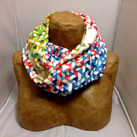 Colorful Knit Scarf - Hollywood Funfetti Sunset Chunky Infinity Scarf