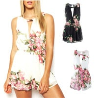 Floral Romper Sexy Playsuit Chiffon Cocktail Evening Jumpsuit Open Back Overall