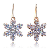 2016 Snowflake earrings for christmas flower earrings for woman boucle d'oreille bijoux femme orecchini donna fashion jewelry