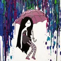 Adventure Time Inspired Painting - Daddy's Little Monster - Marceline - Vampire Queen - Crayon Art - Melted - Print