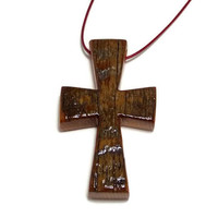 Cross Necklace, Barnwood Cross, Men's Necklace, Minimalist Cross Pendant,  Medium Cross Necklace, Gifts Under 20