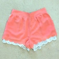 Bright Peach Lacie Shorts - $29.99 : FashionCupcake, Designer Clothing, Accessories, and Gifts