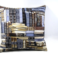 Pillow Cover - 14 x 14 - Books; Accent pillow/decorative pillow cover for sofa, RV, dorm, bed, library/den ~ Throw Pillow