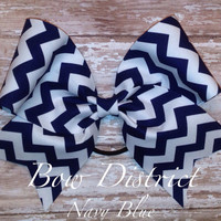 """3"""" Navy Blue and White Chevron Cheer Bow"""