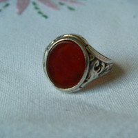 Great Carnelian and Silver Ring, Heavy with Ornate Detail, Beautiful Color Stone