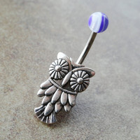 Belly Button Ring Owl Navel Jewelry by CuteBellyRings on Etsy
